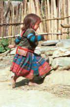 to Jpeg 39K Green Hmong girl at play in a village in Lai Chau province, northern Vietnam 9510f34.jpg